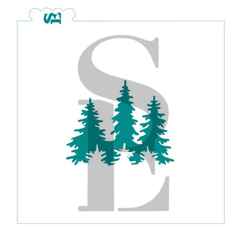 Forest Silhouette Digital Design Cookie Stencil