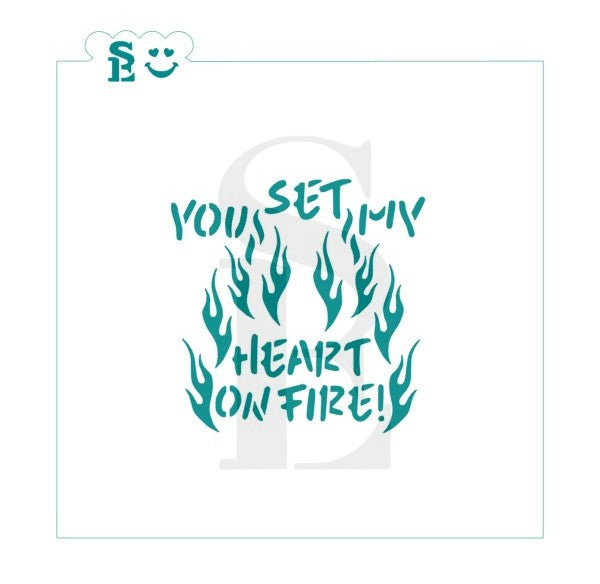 You Set My Heart On Fire, One & Two-Step Stencil for Cookies, Cakes & Culinary