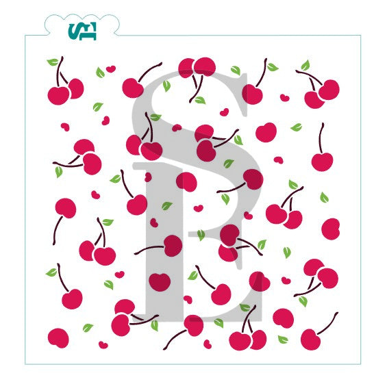 Cherry Jubilee, Three-Step Background Stencil for Cookies, Cakes & Culinary