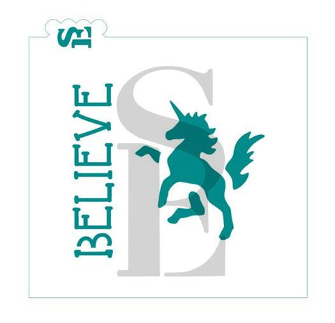 Believe Unicorn Mini Stencil for Cookies, Cakes & Culinary