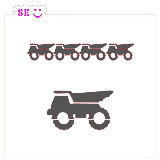 Dump Truck Stencil with Bonus Border for Cookies, Cakes & Culinary