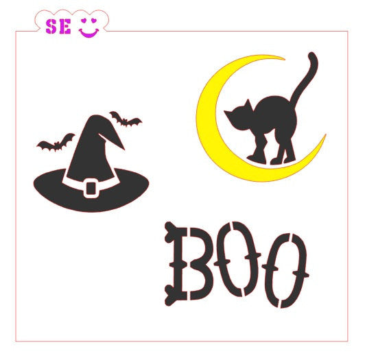 Halloween Boo Cat Witch Hat Stencil for Cookies, Cakes & Culinary