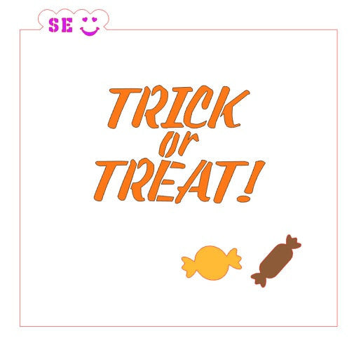 Trick or Treat w/ Bonus Mini Candy Stencil for Cookies, Cakes & Culinary