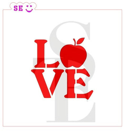 Teacher Apple LOVE Stencil for Cookies, Cakes & Culinary