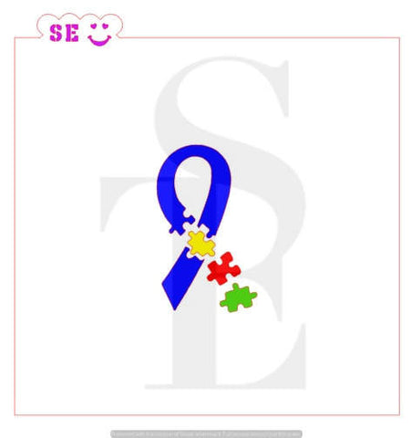 Autism Awareness Puzzle Ribbon Stencil for Cookies, Cakes & Culinary