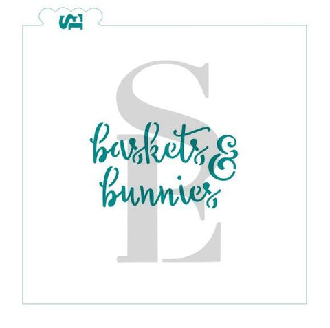 Baskets & Bunnies Stencil digital design for cookies cakes culinary