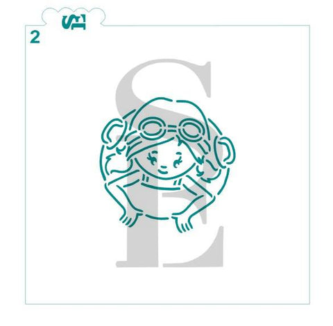 Pool Girl #2 PYO Stencil for Cookies, Cakes & Culinary