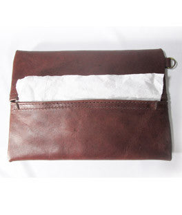 Garnet Leather Tissue Holder -Medium