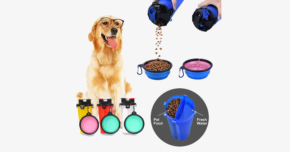Woof™ 2-In-1 'Guardian' Pet Water & Food Bottle with Companion Cup