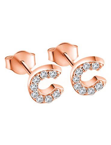 1008fb256 ... 925 Sterling Silver Initial Letter Stud Earrings Rose Gold Plating ...