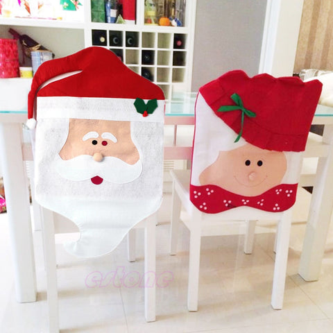 Lovely Mr & Mrs Santa Claus Chair Cover - FREE SHIPPING
