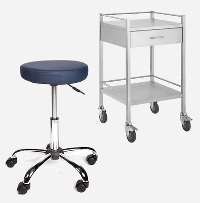 InterAktiv health supplies Medical Clinical furniture, stainless steel trolleys, medical carts, dressing trolleys, gas lift stools, saddle stools, medication trolleys, medical record trolleys, anaesthetic trolley,