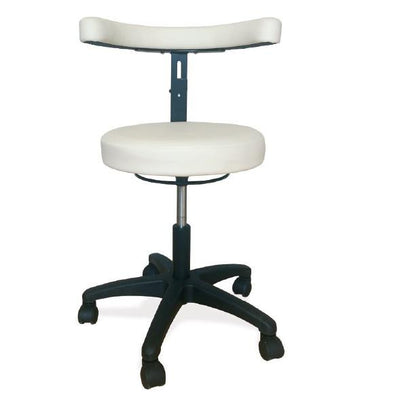 Operators Stool, round top, curved backrest, height adjustable