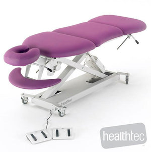 Massage table, electric height adjustment, electric Mid lift and tail lift sections by Healthtec