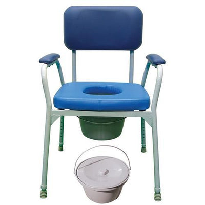 ALUMINIUM HEIGHT ADJUSTABLE BEDSIDE COMMODE CHAIR AT INTERAKTIV HEALTH