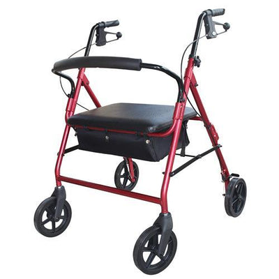 RED HEAVY DUTY ROLLATOR 220KG USER WEIGHT AT INTERAKTIV HEALTH