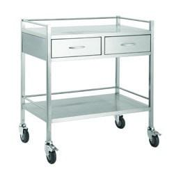 Stainless Steel Dressing Trolley-800mm Wide with 2 Draws -InterAktiv Health