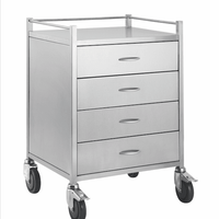 Stainless steel dressing trolley with 4 drawer and locking wheels from Interatkiv Health