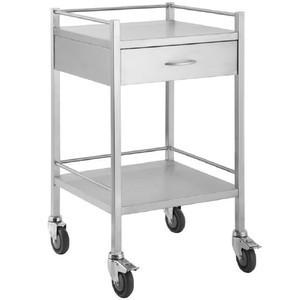 Stainless Steel Trolley 50cm Wide with Draws and Rail-InterAktiv Health