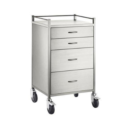 4 drawer stainless steel trolley with 2 drawer 125mm deep and 2 drawers 250mm deep