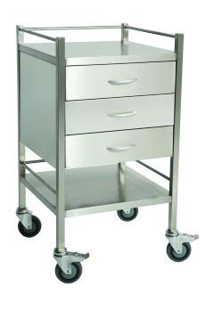 Stainless Steel Trolley with 3 Drawers and Rail