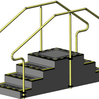 Exercise Stairs with 4 steps up and 4 steps down and stainless steel hand rails