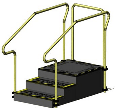 Exercise stairs with 3 steps platform and stainless steel hand rails