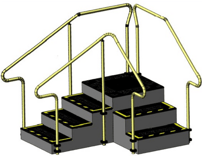 Corner exercise stairs with 4 steps up and 3 steps down and stainless steel hand rails