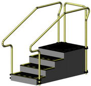 Exercise Stairs with 4 steps up platform and stainless steel hand rails