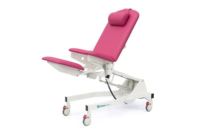 Forme Medical Amethyst Gynea procedure chair, electric height adjustable, electric foot adjustment cushion at InterAktiv health