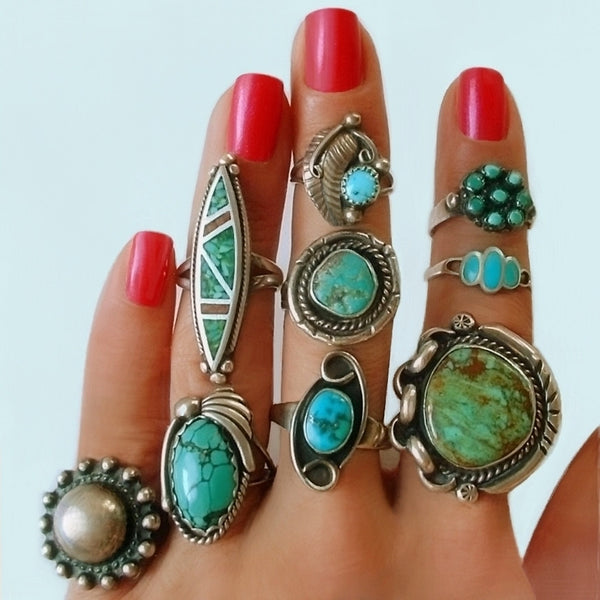 Vintage Native American Turquoise Jewelry, Old Pawn Jewelry