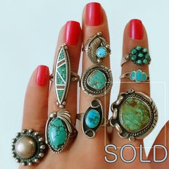Old Pawn Native American Navajo Turquoise Ring 1
