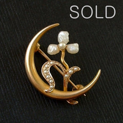 Victorian Crescent Moon Brooch 10K Seed Pearls 1