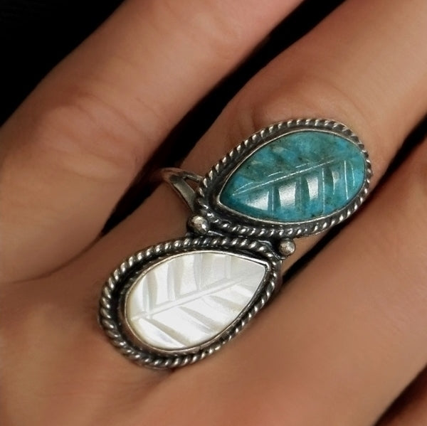 Vintage NATIVE American Long Zuni RING Turquoise Mother of Pearl Carved Leaf - Years After