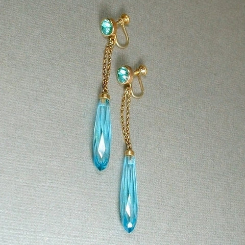 ART DECO Bohemian Crystal Czech Glass EARRINGS Aquamarine Blue - Years After