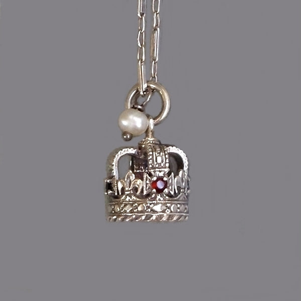 St. Edward's CROWN Charm GARNET Sapphire Sterling Tower of London - Years After