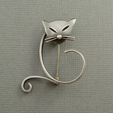Vintage Mexican Taxco STERLING Silver CAT Brooch Modernist EAGLE Hallmarks c.1950s - Years After