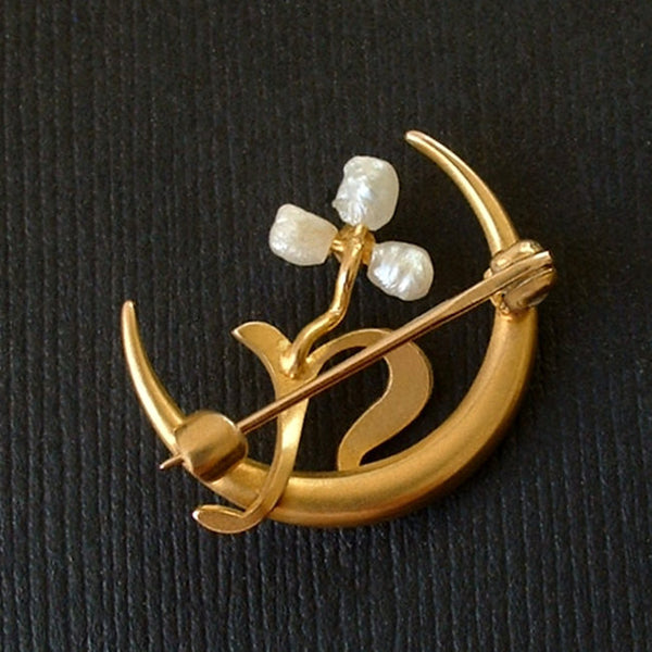 Victorian Crescent Moon BROOCH 10K Baroque Pearl Seed PEARLS Shamrock c.1890s - Years After