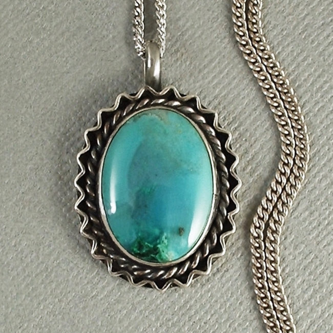 "Vintage Sterling NATIVE American Navajo GEMSTONE Necklace Chrysoprase Chain 20"" - Years After"
