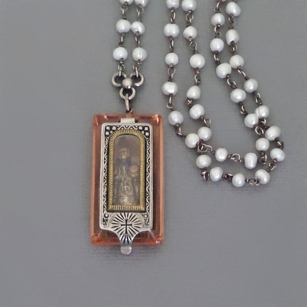 Antique Pocket SHRINE Infant JESUS of Prague Pendant Sterling PEARL Chain - Years After