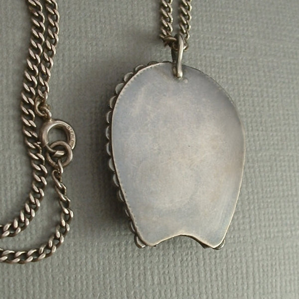 "OLD PAWN Fred Harvey Era Navajo PENDANT 22"" Sterling Silver Chain c.1930s - Years After"