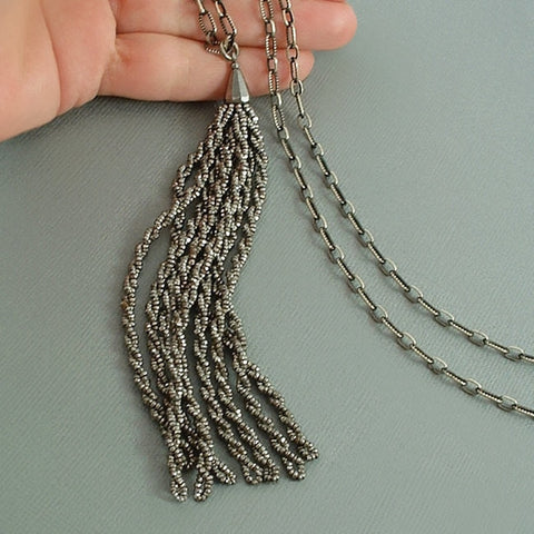 "Antique Victorian TASSEL Necklace CUT STEEL Paperclip CHAIN 27"" c.1870s - Years After"
