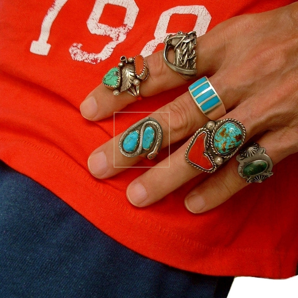 VICTOR CHAVEZ Men's Vintage Navajo Turquoise RING Snake Sterling Signed c.1980's - Years After - 1
