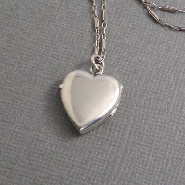 Antique ART DECO Sterling Heart LOCKET Bar Link Chain - Years After