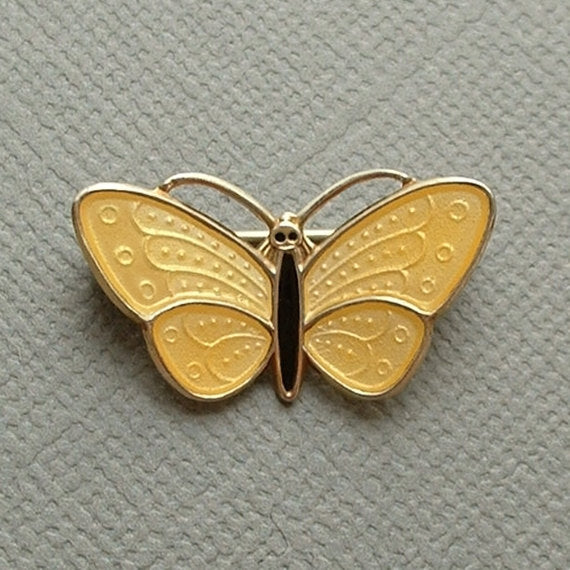 AKSEL HOLMSEN Sterling Guilloche Enamel Butterfly BROOCH Norway - Years After