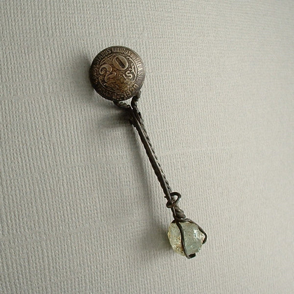 ANTIQUE Brazilian 20 Reis COIN Spoon Gemstone BROOCH - Years After