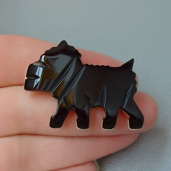 ART DECO Black Bakelite Scottie DOG Brooch - Years After