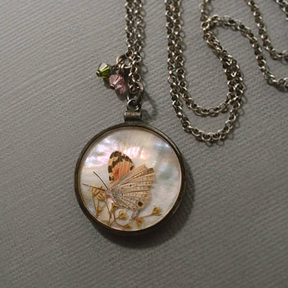 ART DECO Sterling Butterfly Wing Pendant Locket Chain - Years After