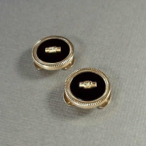 14K Antique VICTORIAN Mourning Jewelry BUTTON Covers c.1880's - Years After