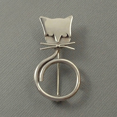 MODERNIST Vintage STERLING Silver CAT Brooch Mexican Taxco - Years After